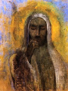 Odilon redon, christ in silence, 1897, charcoal on paper