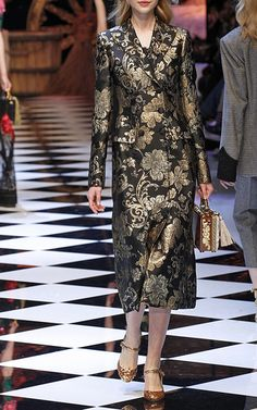 2016 Metallic Floral Jacquard Coat by DOLCE & GABBANA for Preorder on Moda Operandi