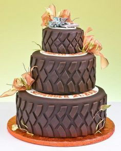 Tire tread cake for chevy/Harley shower