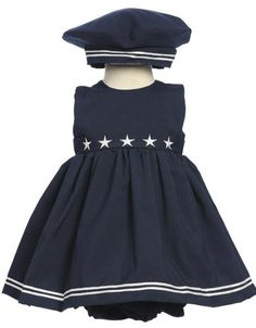 Good Lad Newborn//Infant Girls Navy Classic Nautical Dress with Panty