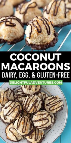 An easy recipe for moist, chewy homemade vegan coconut macaroons. This recipe calls for aquafaba instead of eggs, making these aquafaba macaroons 100% egg free. This recipe also happens to be dairy-free, gluten-free and it's made without condensed milk or any type of flour. These classic vegan cookies can be enjoyed plain or dipped in chocolate, instructions for both ways are included.