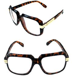e19a1d60e25f Details about Men s Hip Hop 80 s Vintage 607 Clear Lens Eye Glasses RUN DMC  Brown Gold Retro