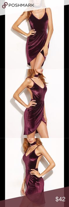 Velvet V-Neck Backless Dress Gorgeous stretchy fitting Velvet backless dress with spaghetti straps and v-neck design. Perfect look with high boots for fall! Available in small, medium and large. Dresses