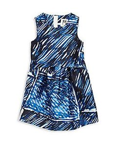 MILLY Girl's Scribble-Print Dress - Blue - Size 12