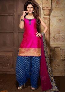 Pink & Blue Patiala Salwar Kameez