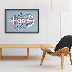 """LANÇAMENTOS  - Tem mais? Tem sim! O pôster """"Hope"""" que ilustra o versículo de Hebreus: """"temos essa esperança como uma âncora segura para a alma"""". Lindo não é? Ele também entra para a família hoje. - Você o encontra em nosso site em 4 tamanhos e 6 opções de cores diferentes de moldura.  - http://ift.tt/1dqyBxz (link na bio). #nacasadajoana #abaixoasparedesvazias #pôster #posters #quadros #enquadrados #design #decoração #decor #interiordesign #pinterest #meunacasadajoana #casa #lar #pedal #bike…"""