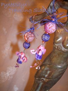 """""""Canterbury Bells""""  Fairy earrings  by PyxeeStyx - Traveling SideShow Onyx Friday: a black friday alternative"""
