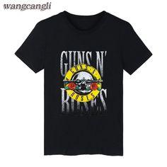 Guns n Roses logo T-shirts classic rock  metal Black S-3XL Free Shipping to USA #Undisclosed #BasicTee