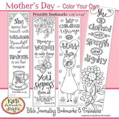 MOTHERS DAY, A Godly Woman, Color Your Own, Bible Bookmarks, Bible Journaling INSTANT Download Scripture Digital Printable Christian
