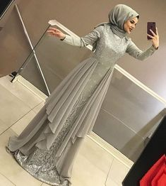 2019 Hijab Evening Dress Models and Prices Attractive Women Hijab Dress Hijab Prom Dress, Hijab Gown, Muslimah Wedding Dress, Hijab Evening Dress, Hijab Style Dress, Muslim Dress, Dress Outfits, Evening Dresses, Dress Muslimah