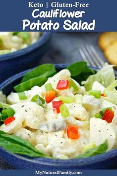 This cauliflower potato salad can either be made with half cauliflower/half potato for a lower carb option or all cauliflower for a Keto option. Gluten Free Sides Dishes, Gluten Free Recipes, Keto Recipes, Healthy Recipes, Healthy Food, Cauliflower Potatoes, Cauliflower Recipes, Gluten Free Lasagna, Easy Cooking