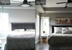 A Quick DIY Master Bed Refresh.  Walls: Rocky Bluff, Valspar