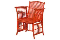 Rattan Side Chair, Antique Orange- will carry at Hive & Honey Interiors