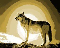 Wolf Art, Southwestern Home Decor, Native American Totem Animal, Woodland…