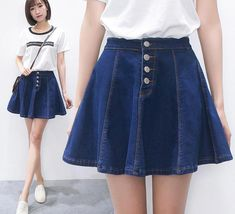 Students tall waist denim skirt sold by Fashion Kawaii [Japan & Korea]. Shop more products from Fashion Kawaii [Japan & Korea] on Storenvy, the home of independent small businesses all over the world. Black Shorts Outfit, Denim Skirt Outfits, Plaid Pleated Skirt, Plaid Skirts, Mini Skirts, K Fashion, Korean Fashion, Fashion Outfits, Harajuku Mode
