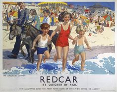 Redcar - Childrens Corner by National Railway Museum Posters Uk, Train Posters, Railway Posters, Beach Posters, Retro Posters, Jack Skellington Mask, Nostalgia, National Railway Museum, Travel Ads