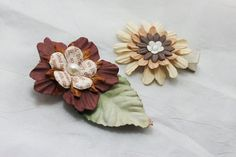 Brown Flowers Hair Clip -Set of 2 by BabyGeneration on Etsy, $3.50