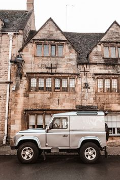 Silver Land Rover Defender van in the Cotswolds