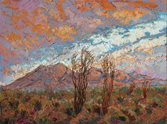 Ocotillo Clouds Painting by Erin Hanson