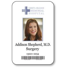 ADDISON SHEPHERD, Doctor on Greys Anatomy T V Show Magnetic Fastener Name Badge Halloween Costume Prop by Badgelady117 on Etsy Addison Montgomery, Grey's Anatomy Tv Show, Grays Anatomy Tv, Derek Shepherd, Halloween Costume Props, Halloween Cosplay, Greys Anatomy Costumes, Grey's Anatomy Doctors, Kate Walsh