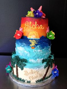 Welcome the Luau baby shower! The Hawaiian themed baby shower is a very beautiful and cheerful way to welcome your little baby boy or girl. Aloha Cake, Hawaii Cake, Hawaiian Baby Showers, Luau Baby Showers, 13th Birthday Parties, Luau Birthday, 16th Birthday, Birthday Ideas, Baby Shower Cakes