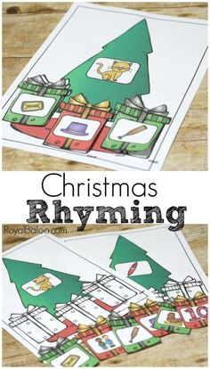 Free printable Christmas rhyming! Practice rhymes for your preschoolers and kinders with this fun Christmas Rhyming set!