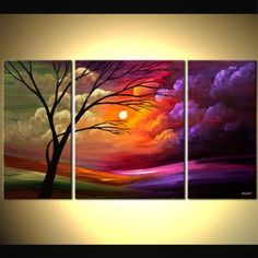 Landscape painting - colorful sunset tree clouds triptych #5880