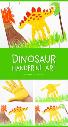 Hand Print Dinosaur Art Learn how to make this cute dinosaur painting. It's a great creative project for boys and girls learning all about dinosaurs. Dinosaurs Preschool, Dinosaur Activities, Fun Activities For Kids, Art Activities, Kids Crafts, Toddler Crafts, Creative Crafts, Preschool Crafts, Preschool Kindergarten