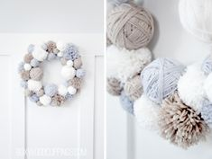 Christmas Wool Wreath from Boxwood Clippings on { lilluna.com }
