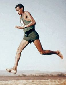 Abebe Bikila, barefoot runner first ethiopian to win two olympic gold medals.