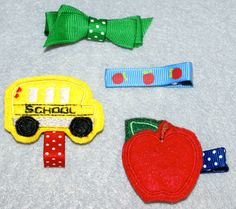 Back to School Apple Bus Hair Bow Clip Clippies Set by JadyBugBows, $8.75