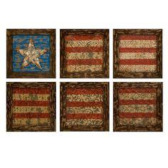 Imax Set Of Six Glory American Flag Wall Decors
