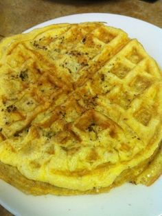 Scrambled Eggs cooked in a Waffle Iron.  Enjoy!