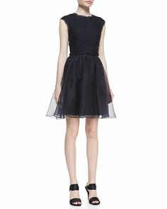 Jessika Lace Fit-And-Flare Dress, Navy by Ted Baker London at Neiman Marcus.