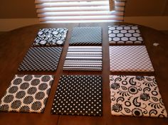 Wall Decor Made EASY & CHEAP!  Hobby Lobby's foam boards cut into 10x10s, scrapbook paper covering the front and (Heavy Duty) stapled on the back! Looks just like canvas' BUT WAY CHEAPER!!! So Simple :)