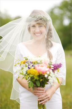 love everything about this wedding!  subtle flower crown + veil, neutral bridesmaids, rural setting, etc.... from weddingchicks