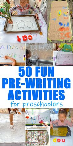 Pre-Writing Activities for Preschoolers Pre-Writing Activities for Preschoolers - HAPPY TODDLER PLAYTIME Create fun and engaging pre-writing activities for preschoolers to help them practice their hand writing skills with these 50 simple to set up ideas! Writing Activities For Preschoolers, Pre K Activities, Preschool Writing, Preschool Learning Activities, Alphabet Activities, Kids Learning, Family Activities, Kindergarten Letter Activities, Preschool Language Activities