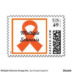 Multiple Sclerosis Orange Awareness Ribbon Postage