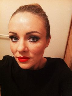 Red lip and double liner