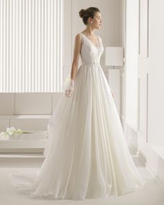 Amazing Organza Over Lace Beading Wedding Dress with Hemstitch Details and A Draped Skirt