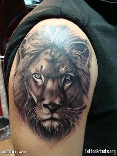 Grey Ink Tiger Head Fine Tattoo On Shoulder