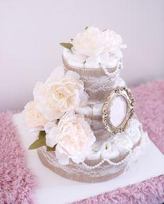 Shabby chic Diaper Cake for Baby Girl / Shower by AngAngBabyUS