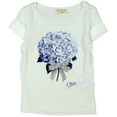 Monnalisa Girl's White T-Shirt with Blue Flower Print and Studded Bow. Available now at www.chocolateclothing.co.uk #childrenswear #minifashion #Monnalisa #chocolateclothing