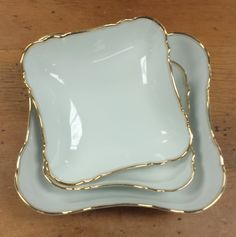 Set of 3 Serving Bowls, Bavarian Porcelain China ~ Porzellanfabrik Moschendorf Bavaria ~ Solid White, Gold Rims & Inset Band by FeeneyFinds on Etsy