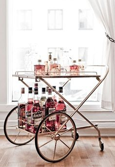 Silver, Pink Drinks Cart.