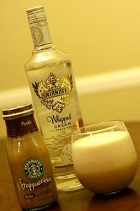 Starbucks Frappuccino blended with ice and Whipped Cream Vodka. Link goes no where. Just pour the proportions you like.