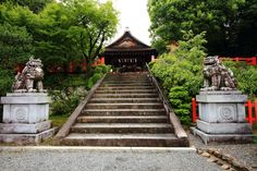 京都建勲神社の拝殿と狛犬