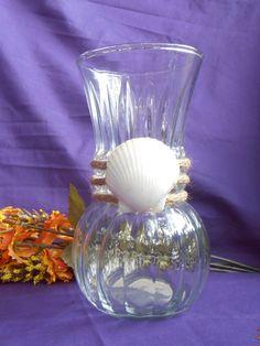 A shabby chic rope wrapped vase with attached Florida seashell, Nautical decor, Coastal decor, Housewarming, Beach decor, Wedding decor