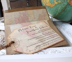 Vintage World Map Wedding Invitation  Hinged by SunshineandRavioli, $5.00
