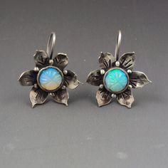 Flower Earrings with flower-carved Australian Opals by Dana Evans.